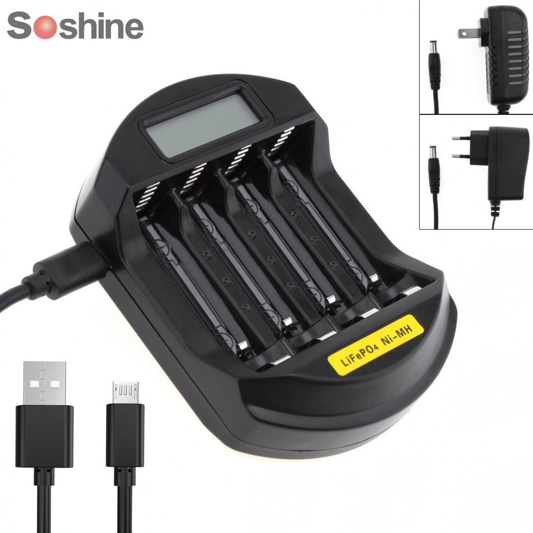 Soshine LCD affichage LifePO4 NI-MH 4 fentes chargeur de batterie Intelligent pour batterie 14500/14400/AA/AAA avec prise ue/US