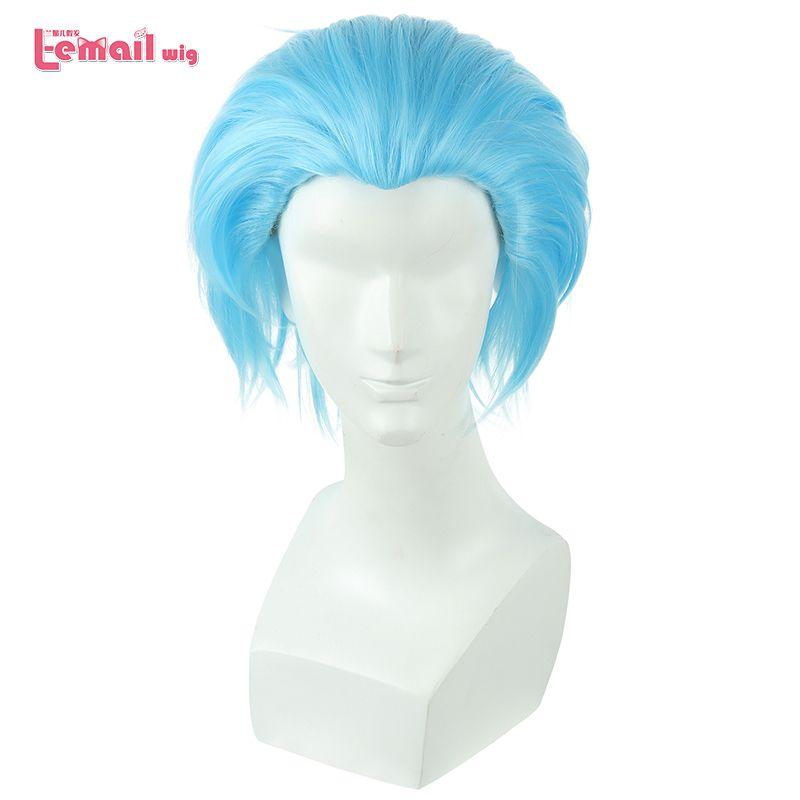 L-mail peluca Nueva Prohibición de Los Siete Pecados capitales de Cosplay Pelucas 30 cm Azul de Los Hombres a prueba de Calor Sintética del Pelo Corto Pelucas de Cosplay peluca