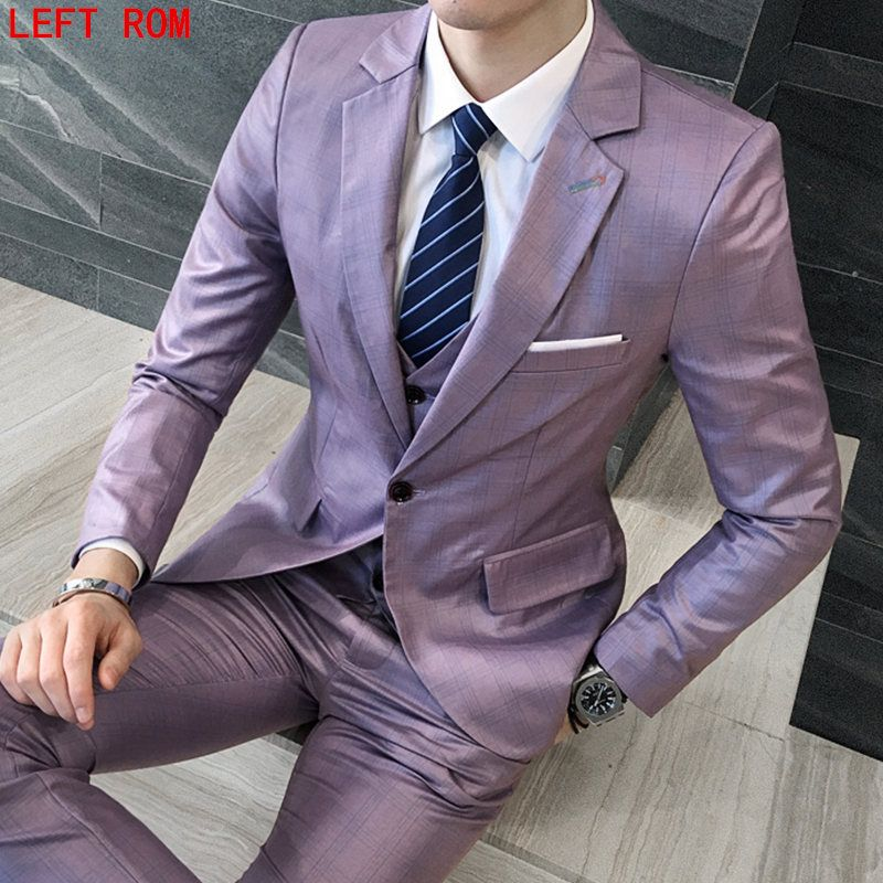 2017 Men Business Suit Slim fit Classic Male Suits Blazers Luxury Suit Men Two Buttons 3 Pieces(Blazer + Pants + vest)