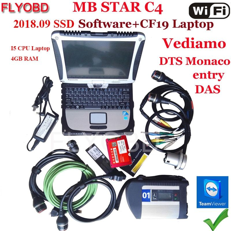 A++Quality MB Star C4 SD Connect Software 2018.12V SSD on Laptop CF19 i5 CPU work for SD Connect C4 Diagnostic-Tool fully kit