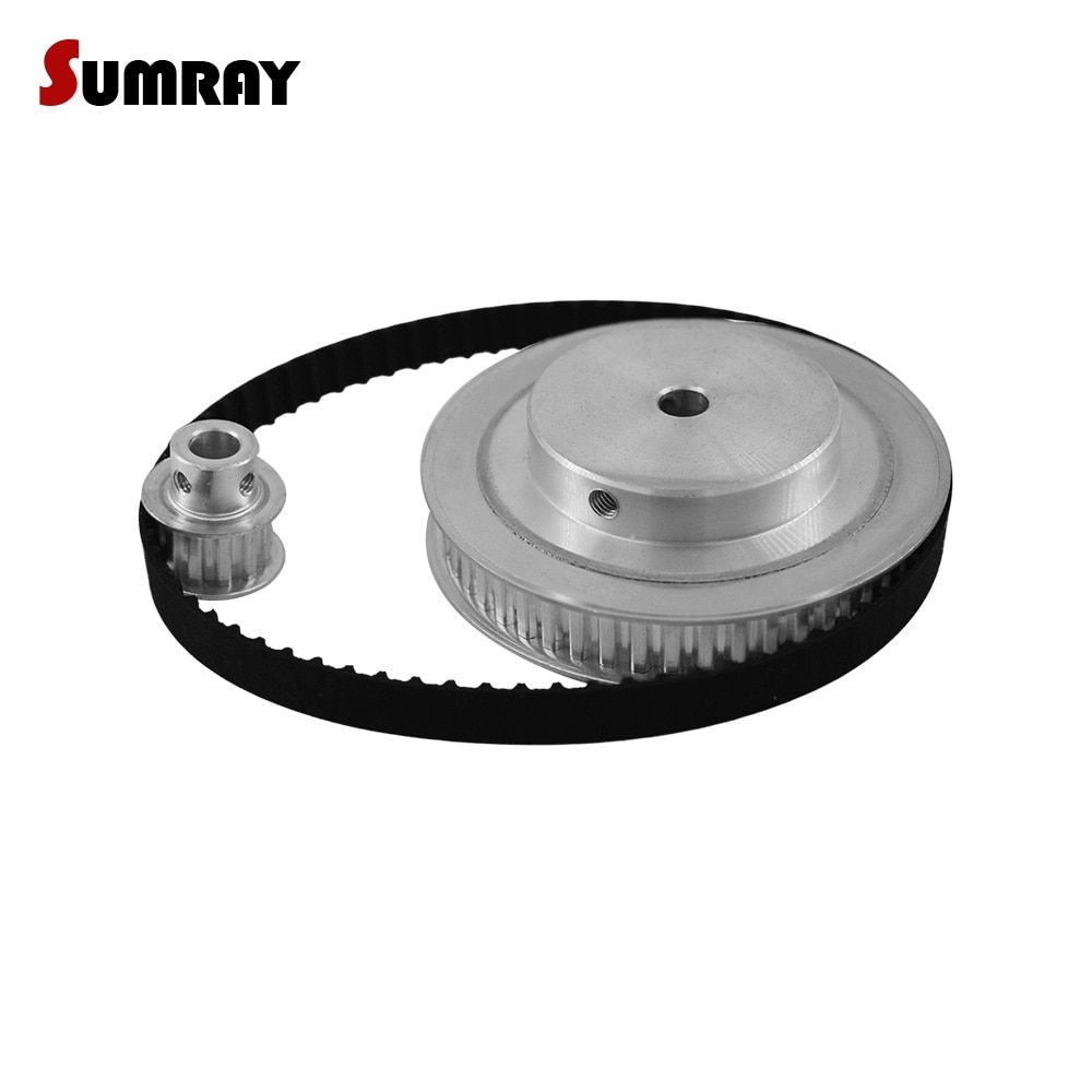 SUMRAY XL Timing Pulley Belt Set Reduction 1:5  XL 10T 50T 11mm Belt Width Bearing Pulley Wheel 144XL Timing Belt  1 SET