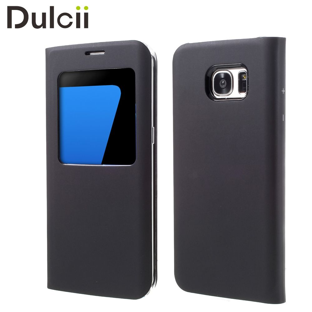 DULCII for Samsung Galaxy S7 Edge G935 Phone Cases Window View Leather Coque Shell for Samsung Galaxy S 7 Edge Cover