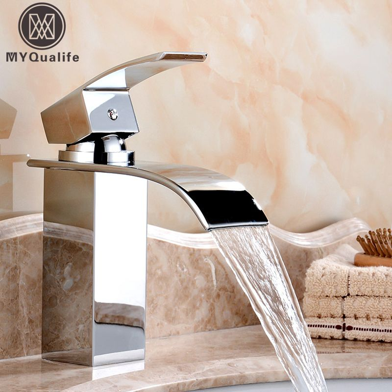 Wholesale And Retail Deck Mount Waterfall Bathroom Faucet Vanity Vessel Sinks Mixer Tap <font><b>Cold</b></font> And Hot Water Tap