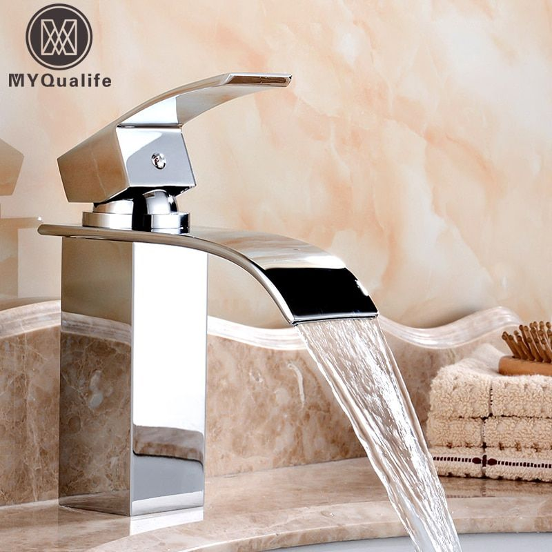 Wholesale And Retail Deck Mount <font><b>Waterfall</b></font> Bathroom Faucet Vanity Vessel Sinks Mixer Tap Cold And Hot Water Tap