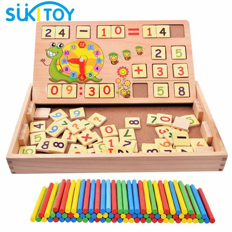SUKIToy Montessori Mathématiques En Bois Jouet éducatif y compris 100 PCS Bâtons 70 PCS numérique carte conseil jeu cadeau pour enfants nouveau année