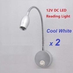 2 piezas 12 V DC loto LED lectura de luz aleación de aluminio iluminación RV/caravana/autocaravana/ remolque Camper lámpara de pared Flexible