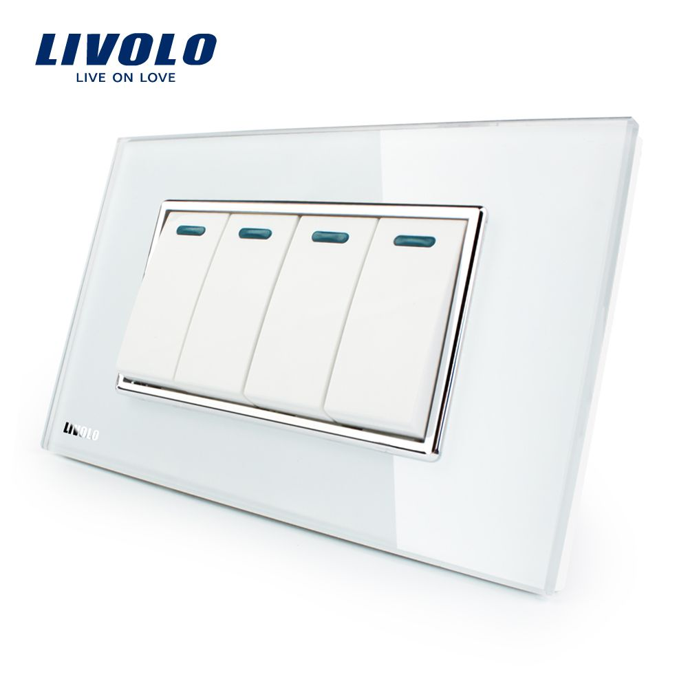 Manufacturer Livolo Luxury White Crystal Glass Panel, 4Gang, 2 Way Push Button Home Wall Switch,VL-C3K4S-81