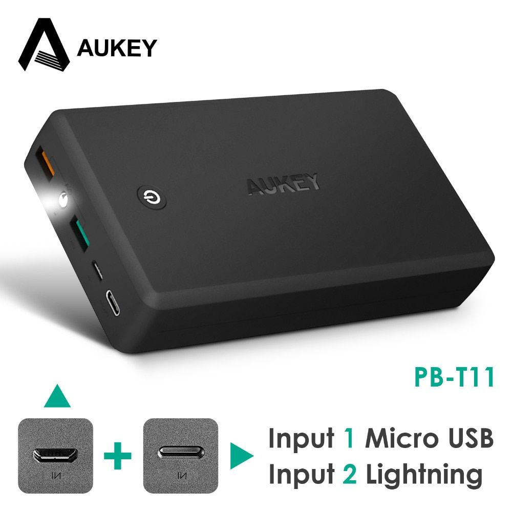 AUKEY 30000mAh Quick Charger Power Bank QC 3.0 Portable power bank Dual USB Output poverbank for mobile phone external battery