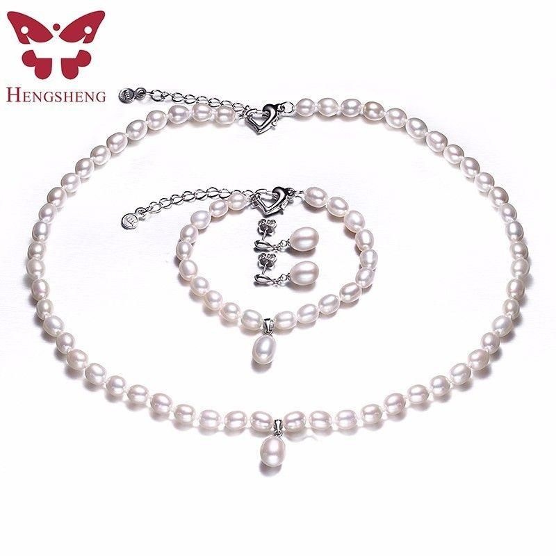 HENGSHENG AAAA Natural Freshwater Pearl Jewelry Set Fashion/Elegant Necklace Bracelet Earrings For <font><b>Women</b></font> for party/wedding/gift