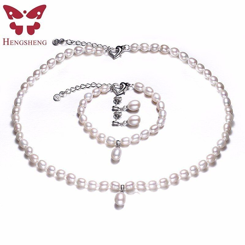 HENGSHENG AAAA Perla Natural de Agua Dulce Conjunto de Joyería de Moda/Elegante Collar Pendientes Pulsera Para Las Mujeres para el partido/de la boda/regalo