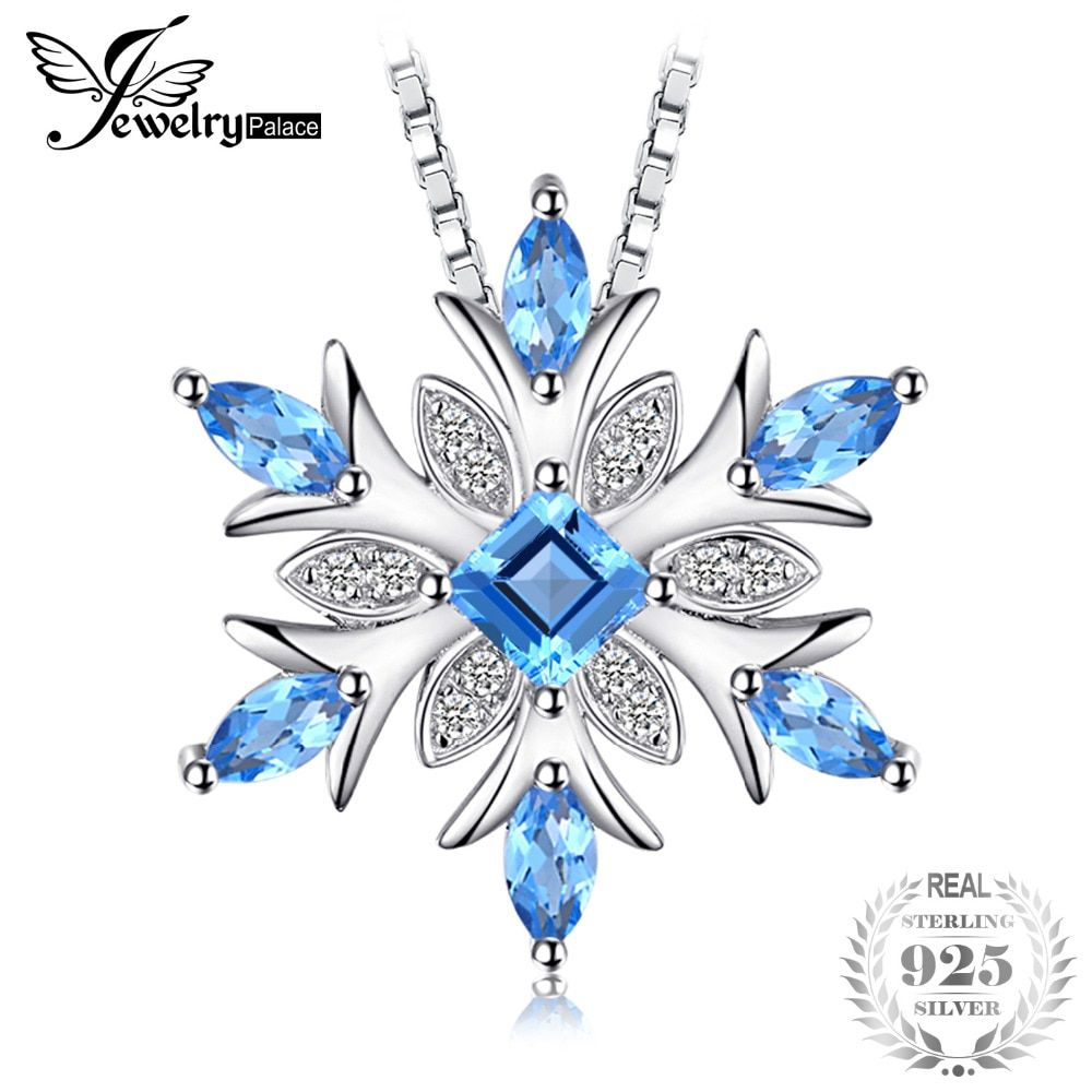 JewelryPalace Snowflake <font><b>Genuine</b></font> Swis Blue Topaz Solid 925 Sterling Silver Pendant Fine Jewelry for women Not Include the Chain