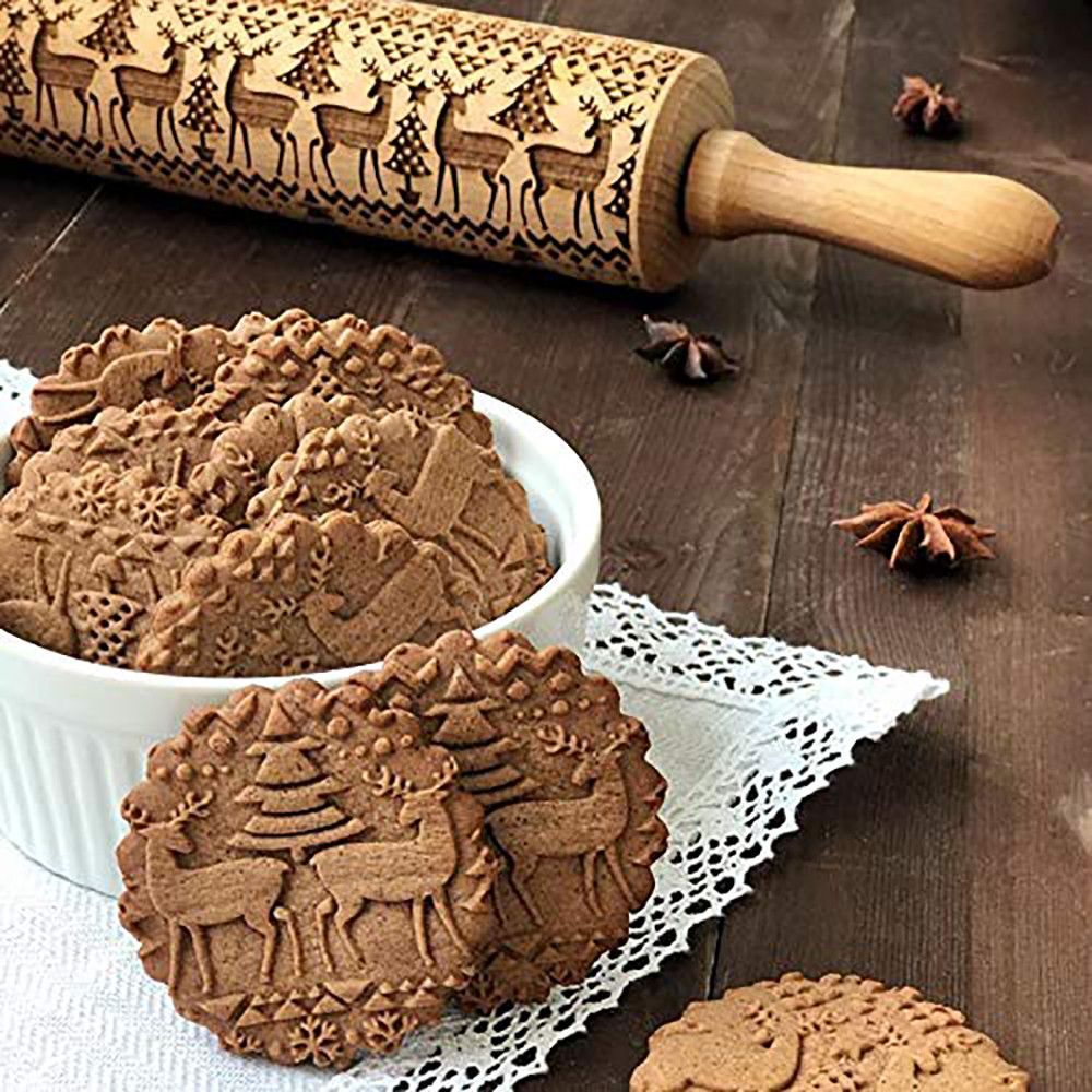 De noël En Relief Rouleau À Pâtisserie Gravé Sculpté Bois Cuisson Des Biscuits Biscuit Fondant Gâteau Pâte Rouleau Rennes Flocon De Neige Navidad