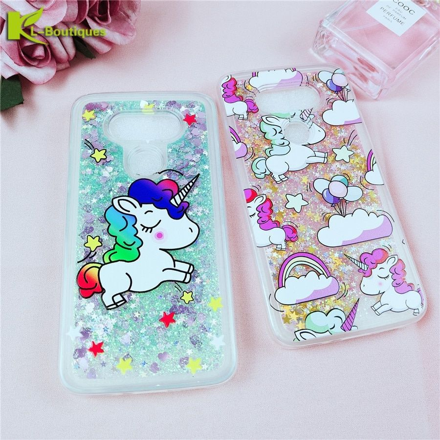 KL-Boutiques for Funda LG G5 Case for LG G6 Cases Unicorn Liquid Glitter Dynamic Phone Case for LG G5 H868 H830 F700S H845 H850