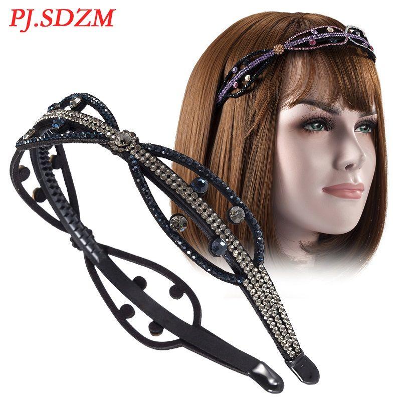 PJ.SDZM 5PCS/LOT Women Hair Accessories Rhinestone Non-slip Leaf Hairband Teeth Fashion Trend Girl Hair Decoration Chic Gift