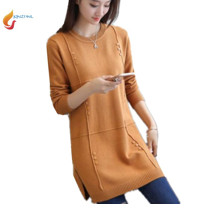 Autumn female Medium length sweater hedging large size casual women sweater long-sleeved knit ladies sweater Plus size 3XL G389