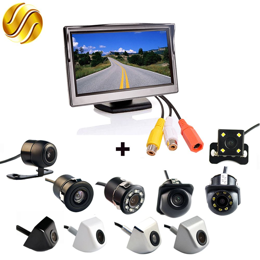 2In1 Car Parking System Kit 5 Desktop Bracket TFT LCD Color Monitor 5 Inch HD Display Screen + Rear View Camera Waterproof
