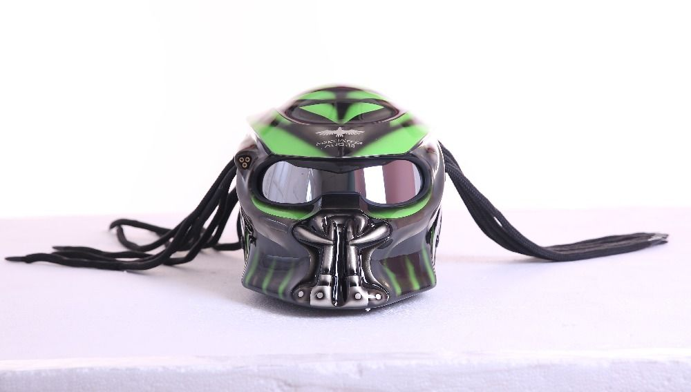 Grau/Matte Grau Grün Predators maske fiberglas neca moto rcycle helm Full face eisen mann moto DOT M L XL