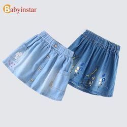 Babyinstar 2019 Baru Gadis Rok Lucu Bordir Floral Denim Rok untuk Musim Panas A Gadis Jeans Rok Anak Pakaian