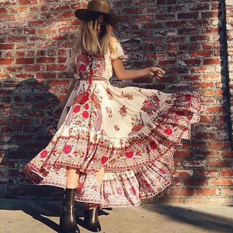 Floral Print Bohemian Maxi Dress Summer Long Off Shoulder Sexy Vintage Cotton Hippie Chic Holiday Beachwear Dresses For Women