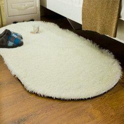Berbentuk Oval Panjang Berbulu Sofa Cover Karpet Tikar Bulu Imitasi Area Karpet Ruang Tamu Kamar Tidur Dekorasi Rumah Lantai Slip Tahan Warna-warni Mat