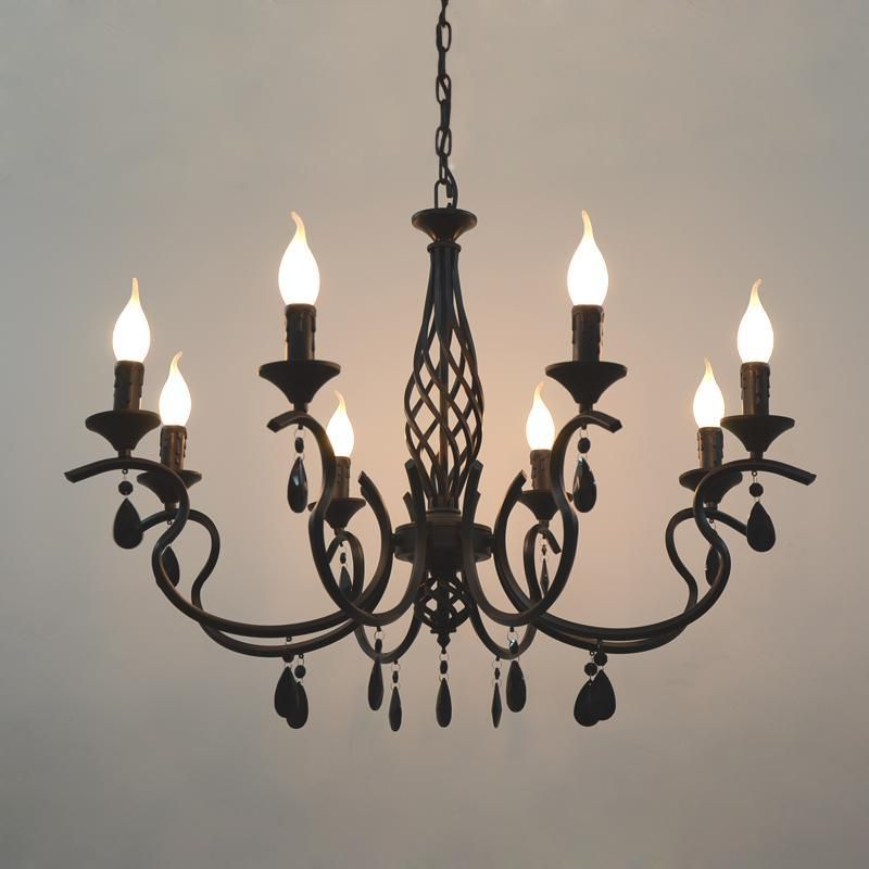 LED Rustic Iron Kitchen Bar Cafe lighting White black blue led Candle holders Chandelier Dining Room wedding Kid's Lustre light
