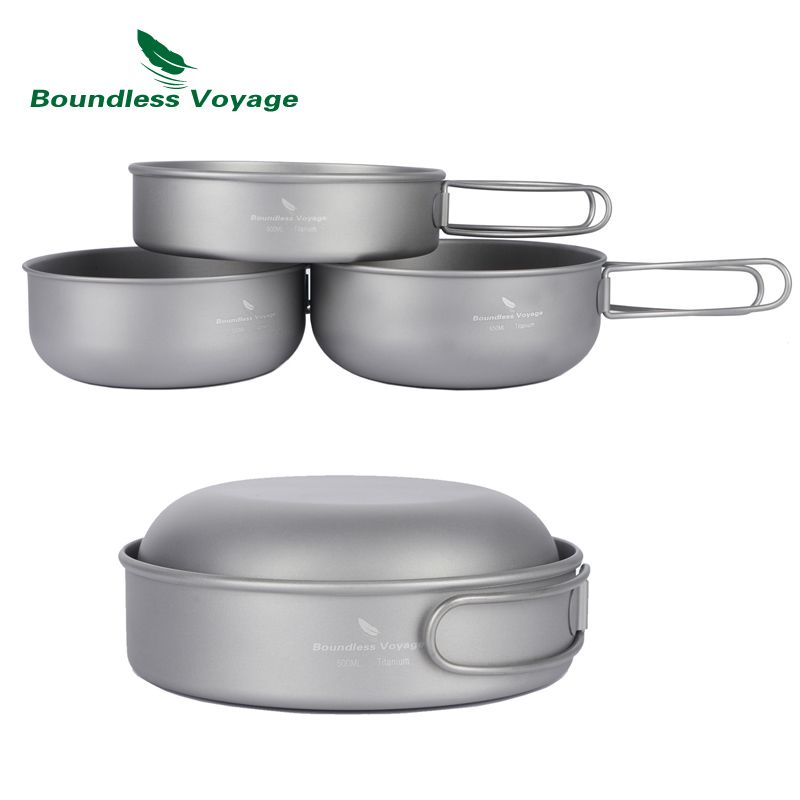 Boundless Voyage Outdoor Ultralight Titanium Bowl Set 3pcs Picnic Titanium Pan Cookware Set Ti1571B