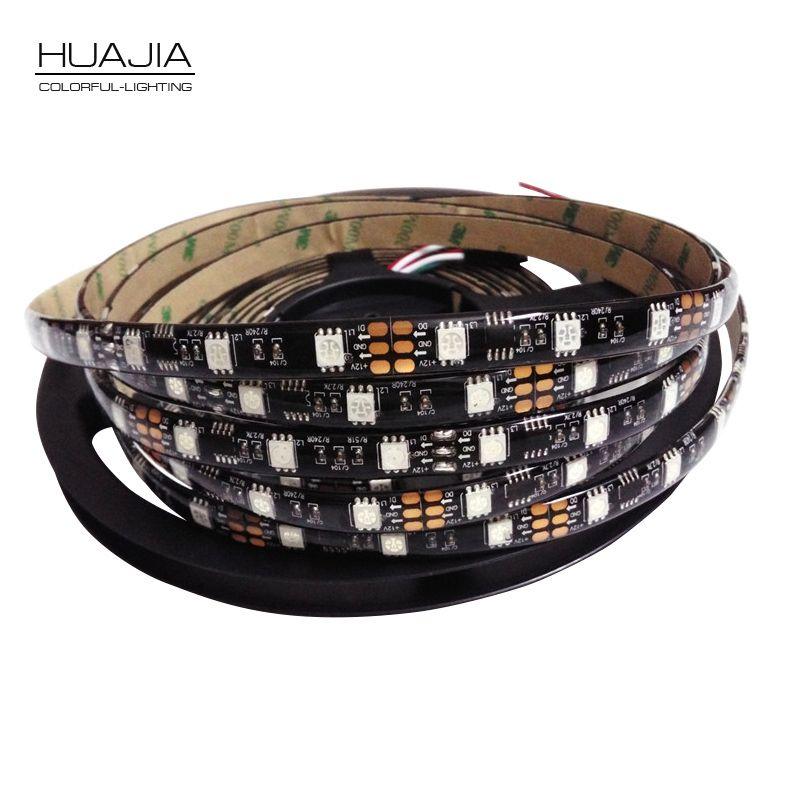 5 M Ws2811 LED bande Dc12V 30/48/60 LED s/m RGB adressable bande de LED noir et blanc PCB IP30/IP65/IP67 SMD5050 Pixels bandes