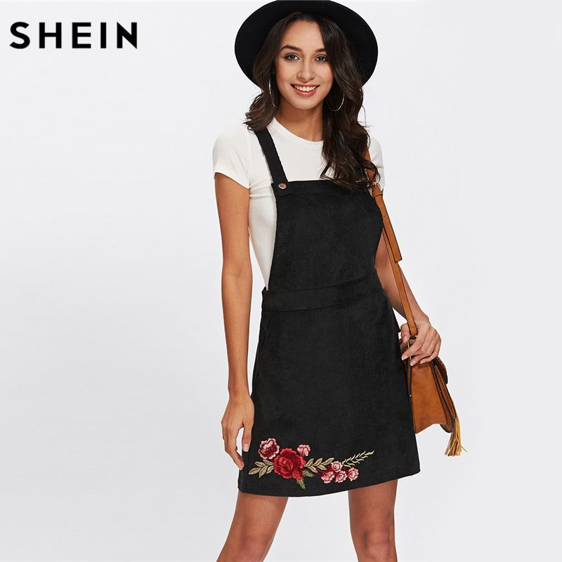 SHEIN Casual Dress Clothes Women Black Sleeveless Rose Embroidery Patch Overall Dress Floral Sheath Dresses for Women