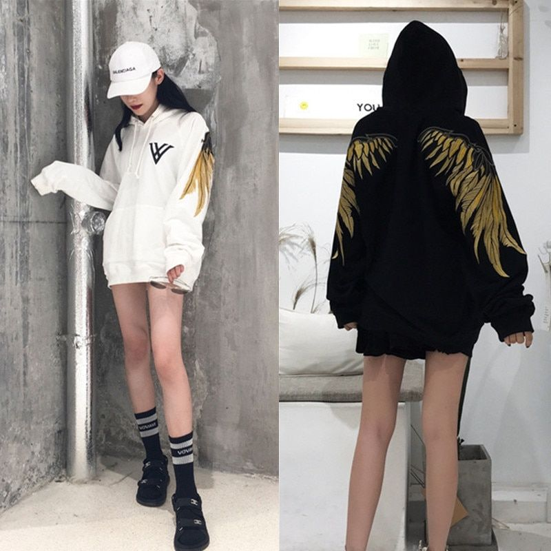 2018hip hop gold thread embroidery wings more add wool fleece single men and women lovers sets loose BF hoodie jacket