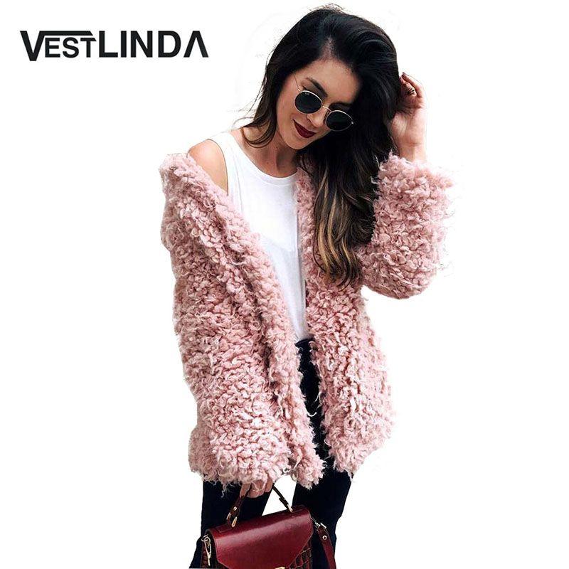 VESTLINDA Winter Grey Wool Overcoat Warm Outerwear Women Pink Faux Fur Coat Turn <font><b>Down</b></font> Collar Long Sleeve Cardigan Female Outwear