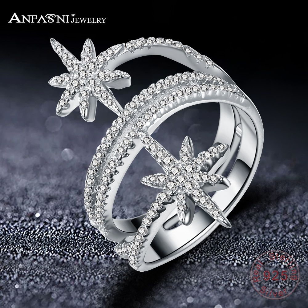 ANFASNI 100% 925 Sterling Silver Star Meteor Rings For Women Finger Ring Famous Original Jewelry Fine Jewelry Free Shipping