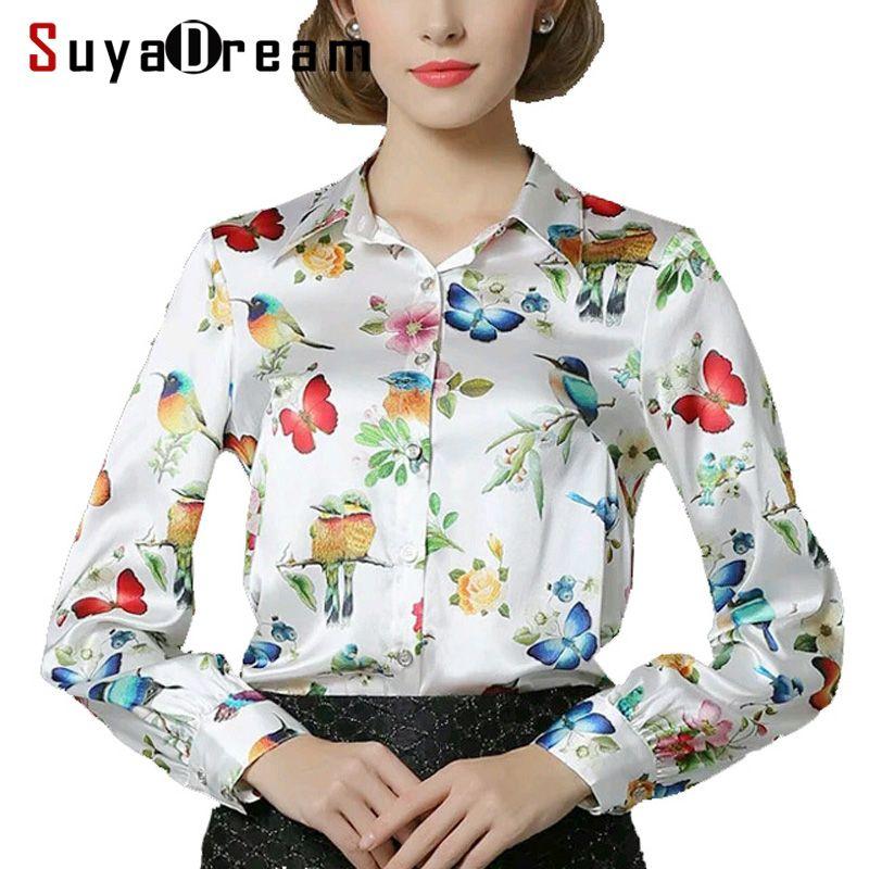 Pure Mulberry SILK blouse Women long sleeve work Brand Print Satin Blusas femininas Office lady STRETCH Plus size 2018 NEW shirt