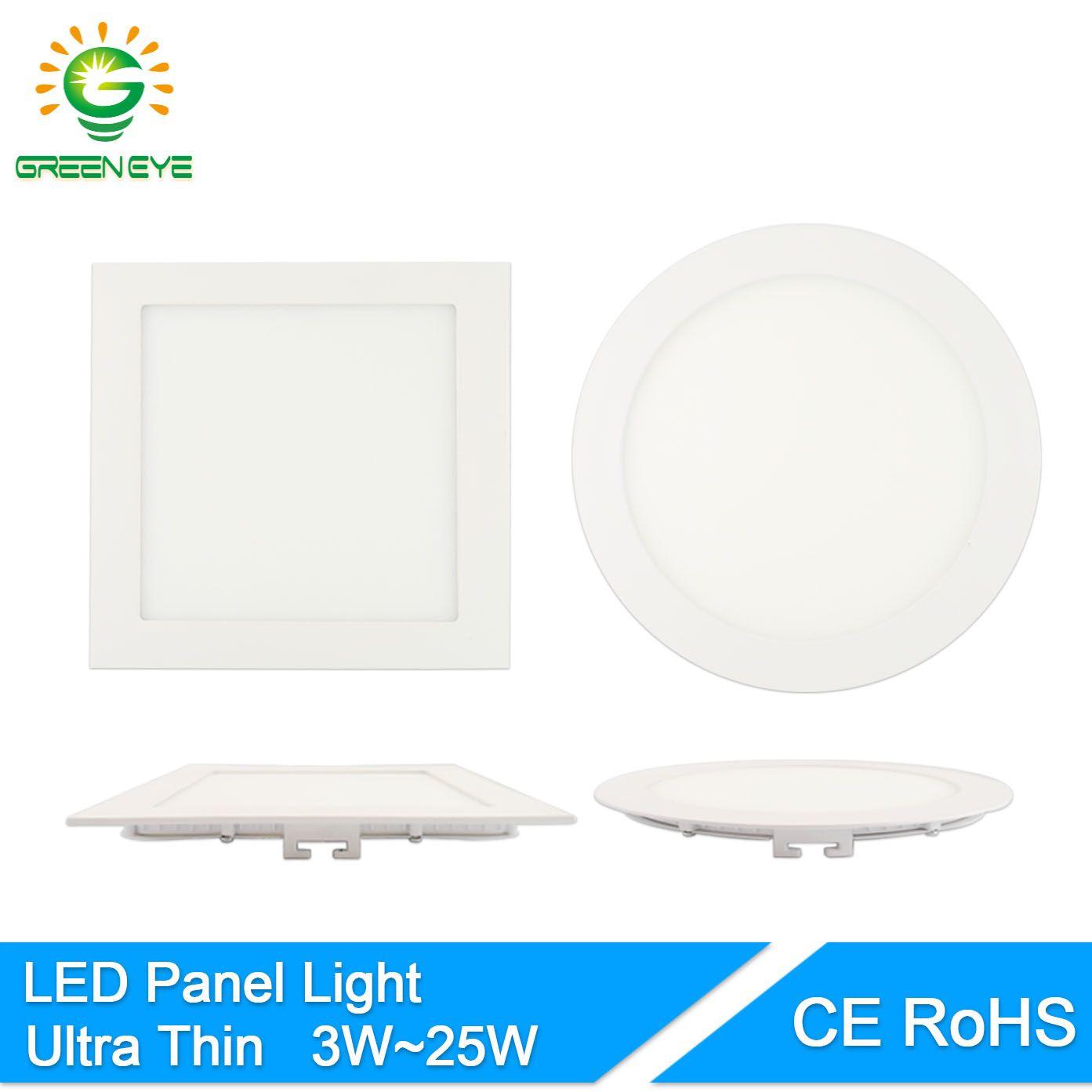 GreenEye Ultradünne AC 85-265 v 3 watt-25 watt LED-Panel Licht Runde/Quadratische LED Deckeneinbauleuchte 4 watt 6 watt 9 watt 12 watt 15 watt 18 watt Lampe 220 v