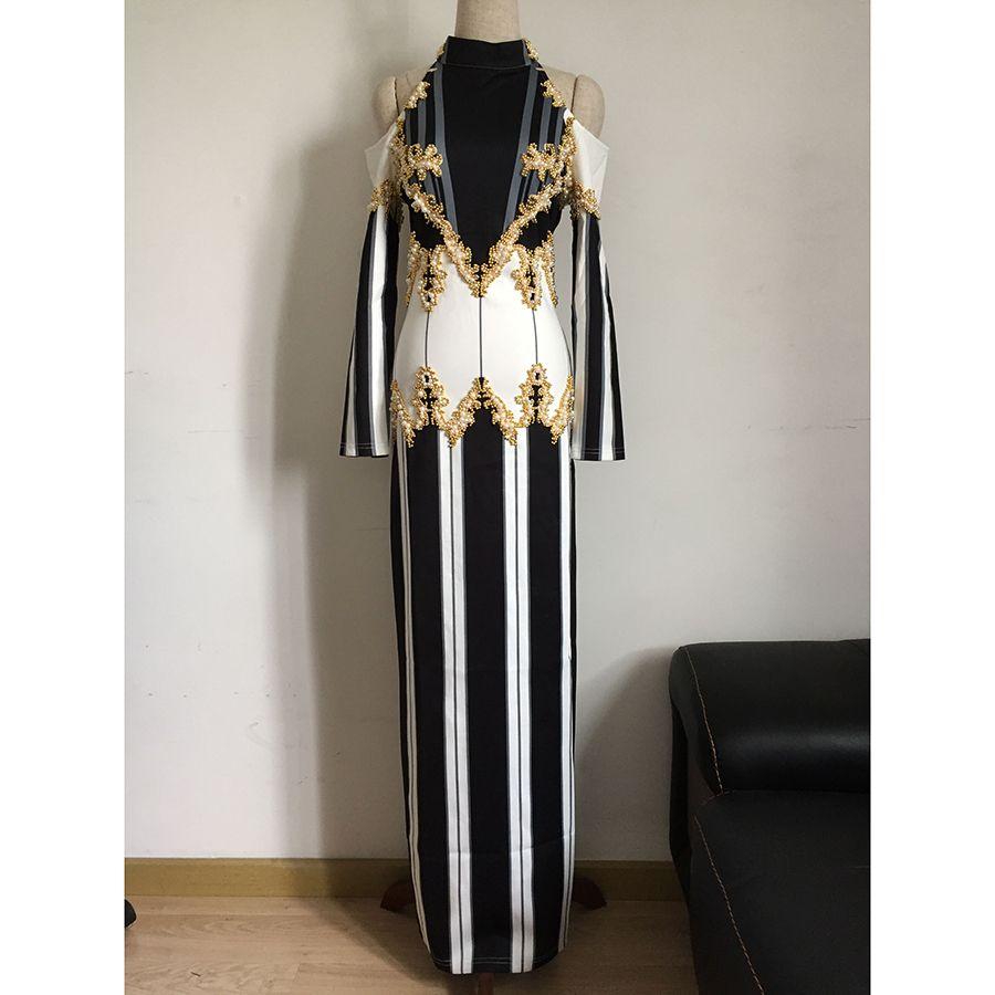 HIGH QUALITY Newest Fashion 2018 BAROCCO Runway Dress Women's Shoulder Exposure Luxury Handwork Pearl Beading Long Dress