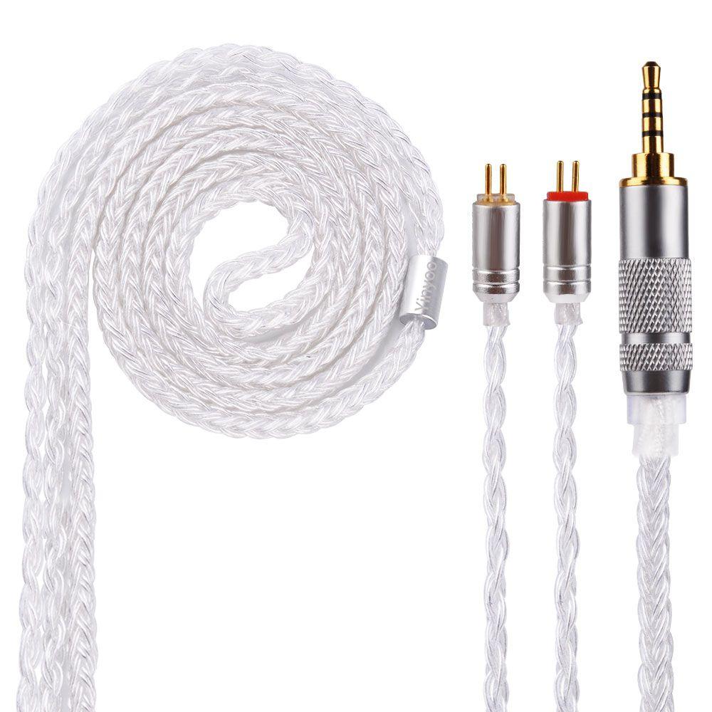 AK Neueste Yinyoo 16 Core Silber Überzogene Kabel 2,5/3,5/4,4mm Upgrade Kabel Mit MMCX/2pin stecker CCA TRN KZ ZST V80 ZS7 QT5 C10