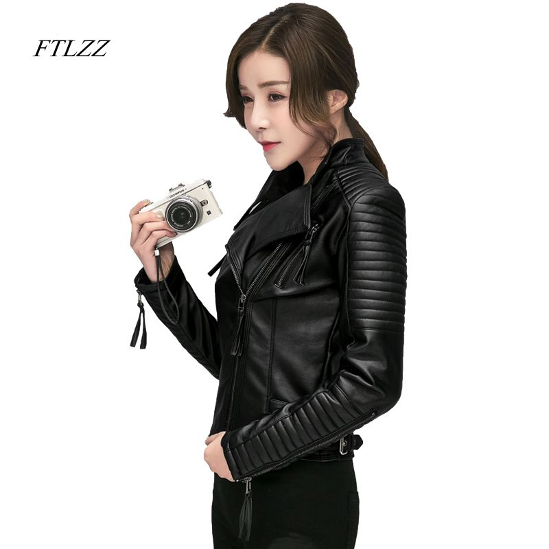 FTLZZ New Spring Autumn Women Faux Soft Leather Jackets Pu Black Blazer Zippers Coat Motorcycle Outerwear Biker Jacket