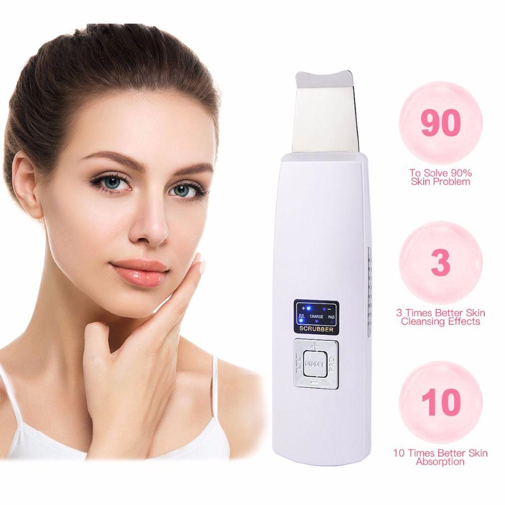 Ultrasonic Ion Skin Scrubber Facial Skin Ultrasonic Scrubber Cleaner Blackhead Removal Face Peeling Extractor Skin Beauty Device