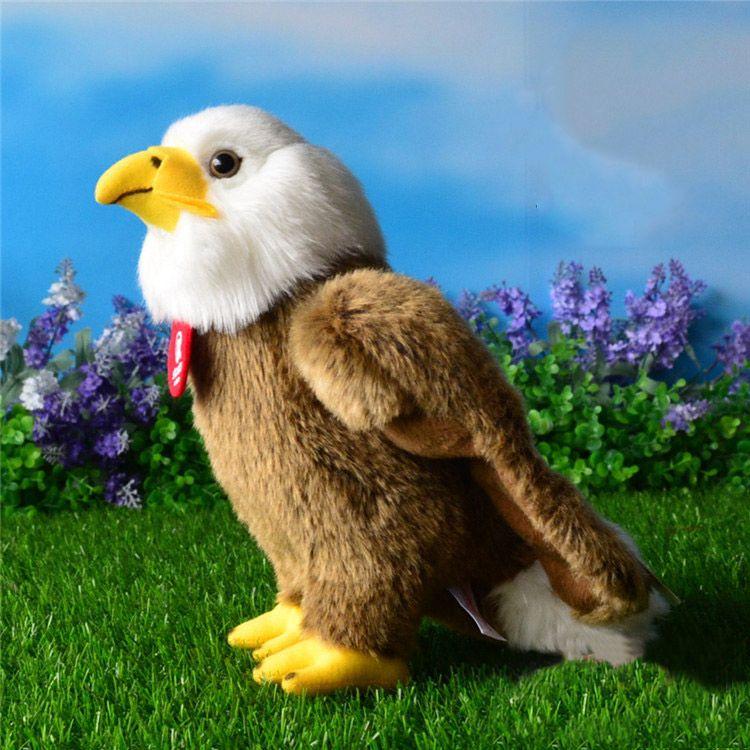 Livraison gratuite de haute qualité 25 cm Simulation aigle chauve jouets en peluche peluche Animal jouet doux aigle poupées pour enfants