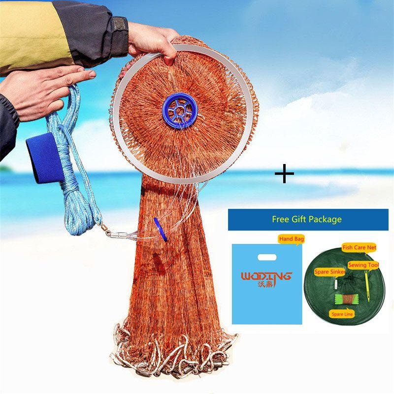 Hohe Qualität Reifen Verwendung Linie Casting Angeln Netzwerk Mit Platinen 2,4 mt-4,2 mt Amerikanischen Stil Angeln Gill Net kleine Netz 1x1 cm