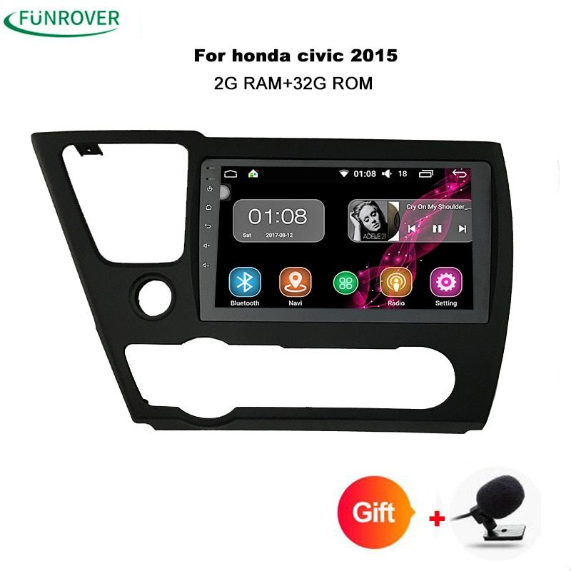 Funrover 2Din Head unit 9inch Android 8.0 Car radio DVD GPS Navi For Honda Civic Saloon 2013 2014 2015 Tape recorder Player can