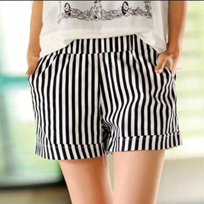 2019 nouveau mode été coton blanc noir rayé Shorts femme décontracté taille élastique poche chaude courte grande taille 3XL C164