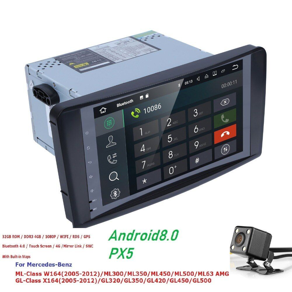 2 Din 9 Inch Android 8.0 PX5 Car NO DVD Player For Mercedes Benz GL ML CLASS W164 ML350 ML500 X164 GL320 4G RAM 4GWIFI GPS Radio