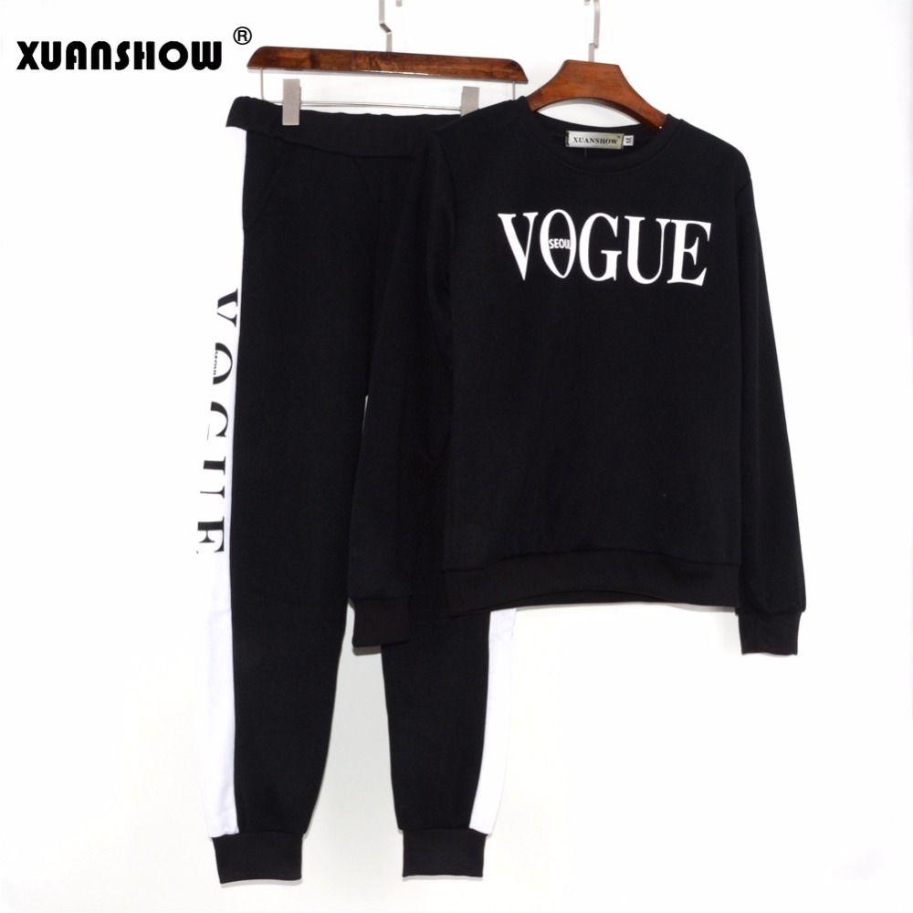 XUANSHOW Autumn Winter 2 Piece Set Women VOGUE Letters Printed Sweatshirt+Pants Suit Tracksuits Long Sleeve Sportswear Outfit