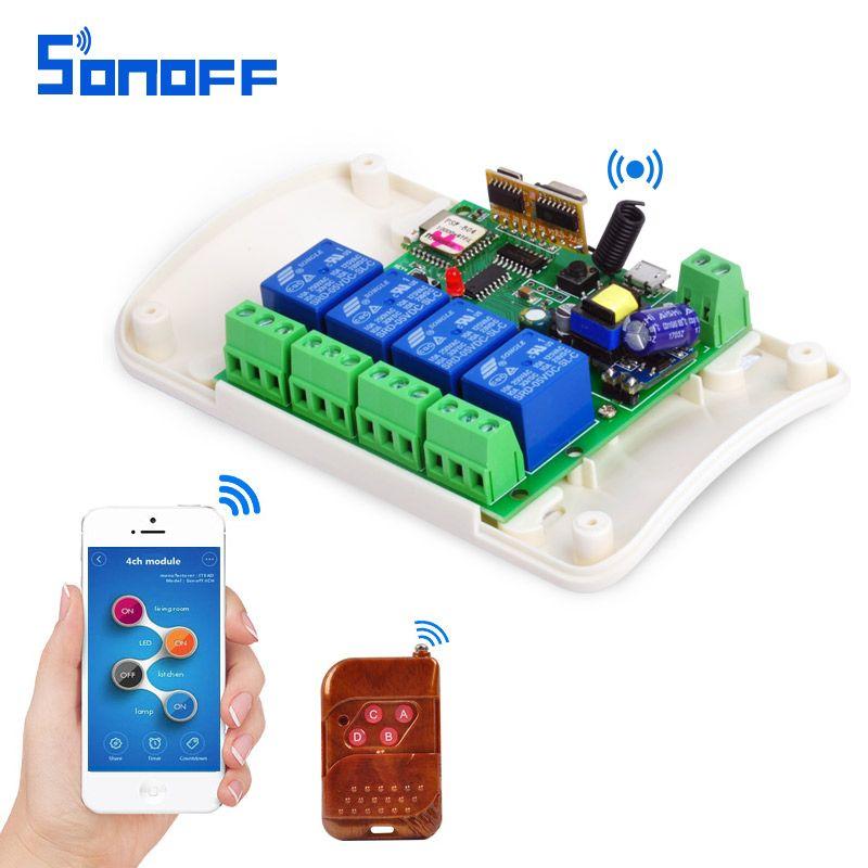 SONOFF AC85-250V 4 Canal Automation Module Jog Inching WIFI Sans Fil Smart Switch Relais rf recevoir 433 mhz Télécommande 4ch
