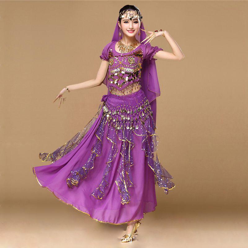 2018 mujeres dancewear Sari danza del vientre Costume set 4 unids Bollywood indio trajes de danza trajes de falda