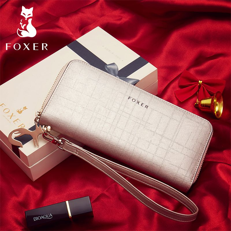 FOXER Brand Women's Leather Wallets with Wristle Luxury Female Clutch Wallet Card Holder Coin Purse Cellphone Bag for Women