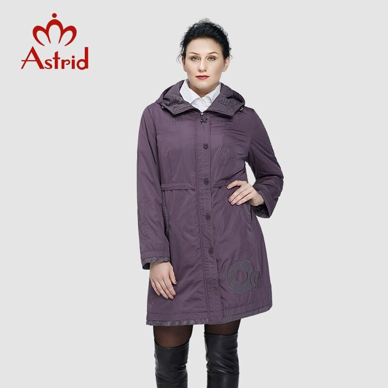 Astrid 2018 Women Trench Coat Women's Fashion Long Sleeve pattern embroidery casual women down Hooded Plus Size freeship AS-9568