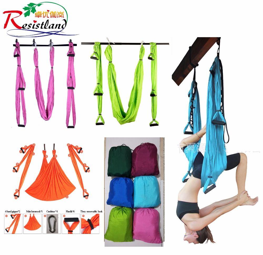 6 couleurs force décompression yoga hamac Inversion trapèze Anti-gravité Traction aérienne yoga gymnastique sangle yoga balançoire ensemble