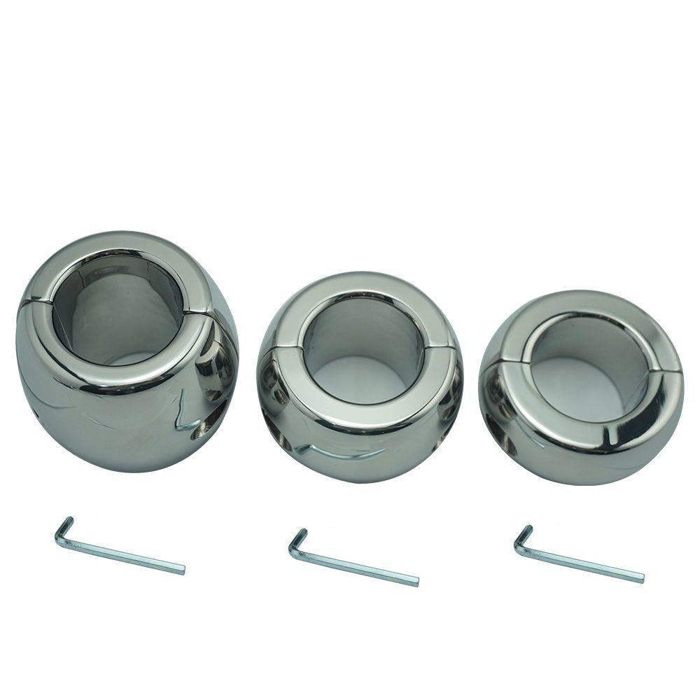 Taille 30/40/60mm acier inoxydable testicule balle civière Scrotum anneau de bite en métal verrouillage pendentif poids pour CBT mâle sex toy