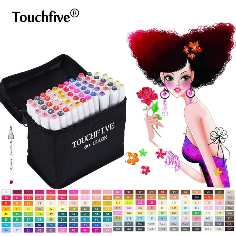 TouchFive marqueur pinceau stylo 168 couleurs Art marqueur croquis marqueurs set à base d'alcool pour Manga école bureau stylos Design fournitures